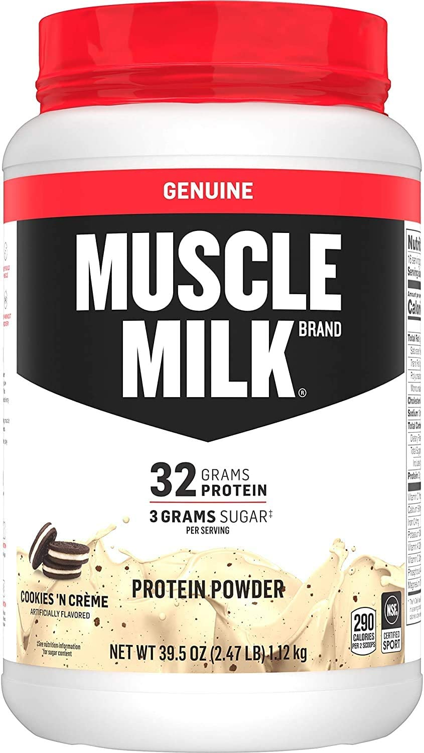 Muscle Milk Genuine Protein Powder, Cookies 'N Crème, 32g Protein, 2.47 Pound, 16 Servings