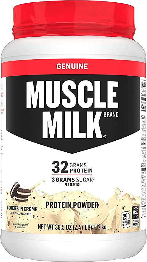 Muscle Milk Genuine Protein Powder, Cookies 'N Crème, 32g Protein, 2.47 Pound, 16 Servings