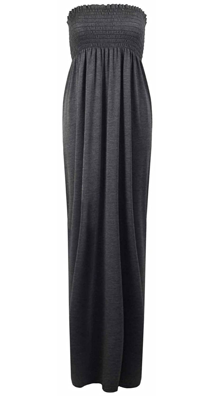 Janisramone Frauen plus Größe sheering boobtube lange jersey trägerlosen  Maxi-Kleid Größe 8-26: Amazon.de: Bekleidung