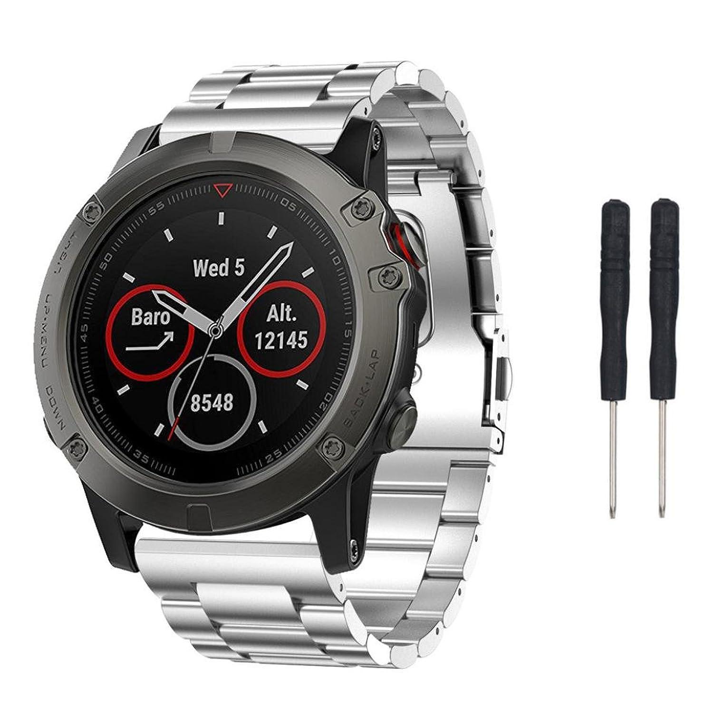 Stailessスチールブレスレットストラップ腕時計バンドfor Garmin Fenix 5 x GPS Watch 145-200mm シルバー  B073CLPS96