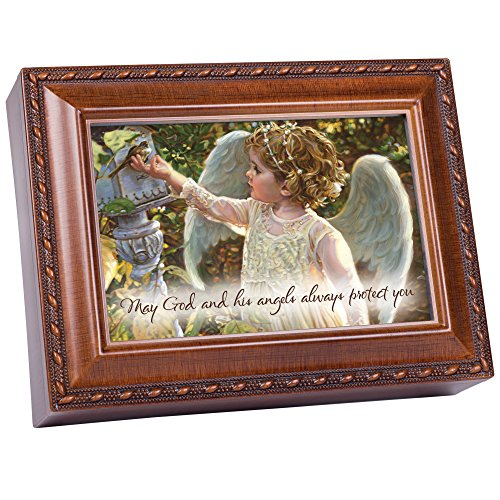 Flower Garden Music Box - Cottage Garden Angel In The Garden Woodgrain Inspirational Traditional Music Box Plays How Great Thou Art
