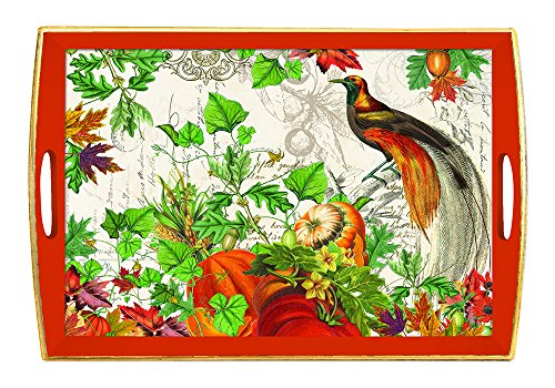 Michel Design Works Wooden Serving Tray, Large, Autumn Harvest (Autumn Design)
