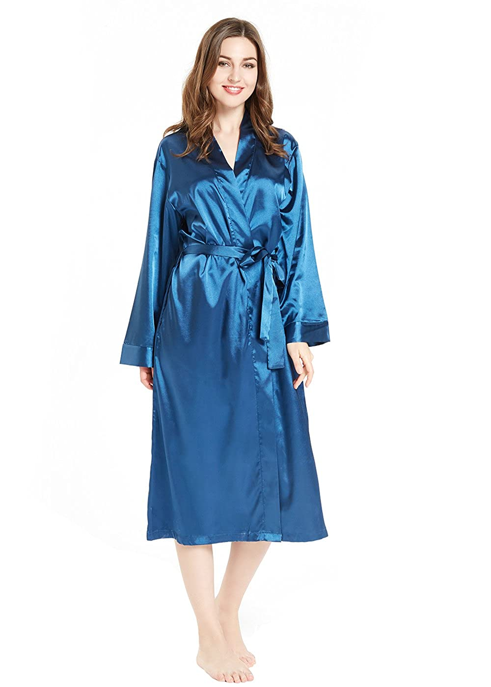 blueea lantisan Silky Satin Robe Women, Long Bathrobe Full Length VNeck Dressing Gown