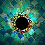 Solar Powered Mosaic Glass MerryNine Solar Table Lamp Color Changing Glass LED Rechargeable Solar Night Lamp Waterproof Solar Outdoor Lights for HomeYard Patio Party Decorations (Grilles-Cadenza)