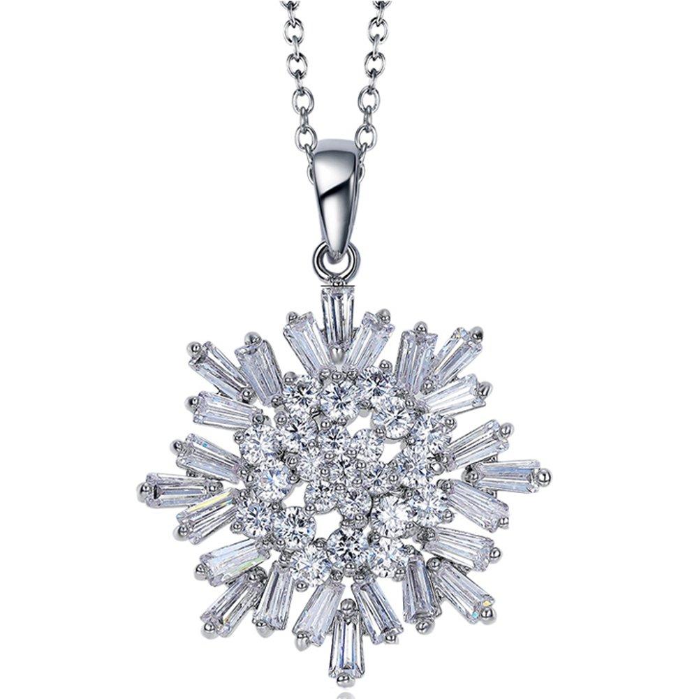 "LicLiz Snowflake Pendant Necklace Cool Summer CZ Necklace,16"" + 2'' Adjustable Chain"