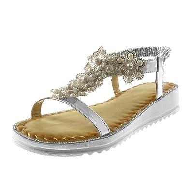 Angkorly - Chaussure Mode Sandale salomés lanière cheville slip-on femme strass diamant fleurs fantaisie Talon compensé 3 CM - Noir Wr8Ms0yUF