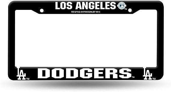 Bhartia Los Angeles Dodgers La Black Chrome License Plate Frame Stainless Metal Tag Holder 12 X 6