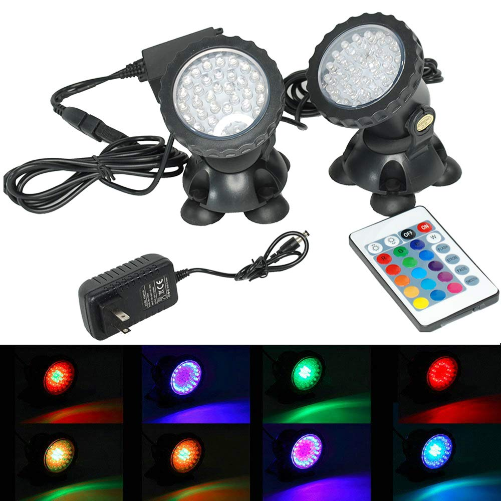 iMeshbean Set of 1/2 / 4 Colorful Underwater Garden Fountain Fish Tank Pool Pond Spot Light Submersible Decoration Color Changing Lamp + 24 Key Remote USA (Set of 2)