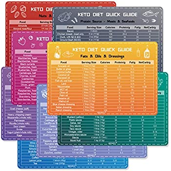 Keto Cheat Sheet Magnets(8 Pcs), Ketogenic Diet Products for Beginners, Quick Guide Fridge Magnetic Reference Charts for 128 Keto Friendly Foods
