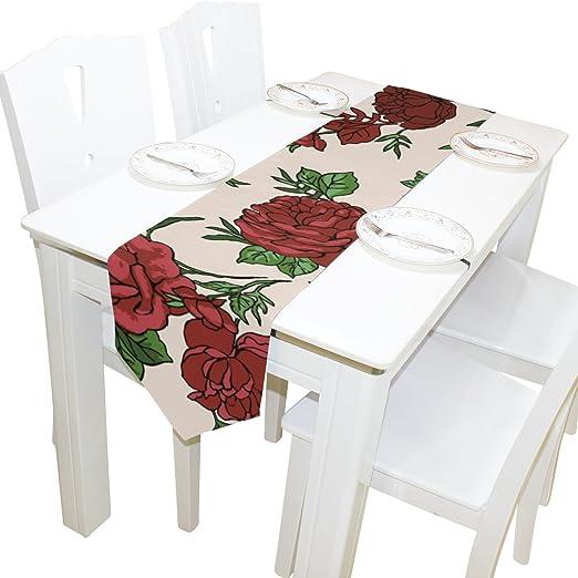 JSTEL ingbags Elegante Camino de Mesa poliéster Rojo Rosas para ...