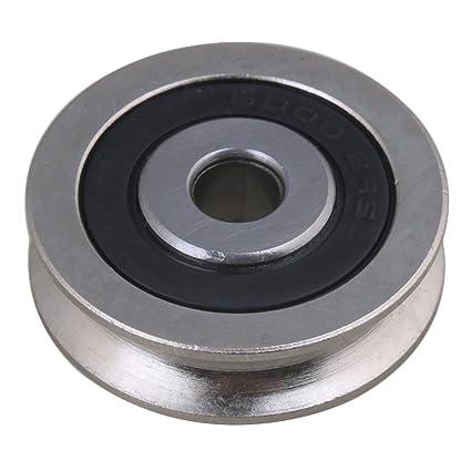 BQLZR 6 x 30 x 8 mm negro plateado rodamientos rodamiento de pasivo redondo de acero U Groove Pulley Wheel Ferroviario ...