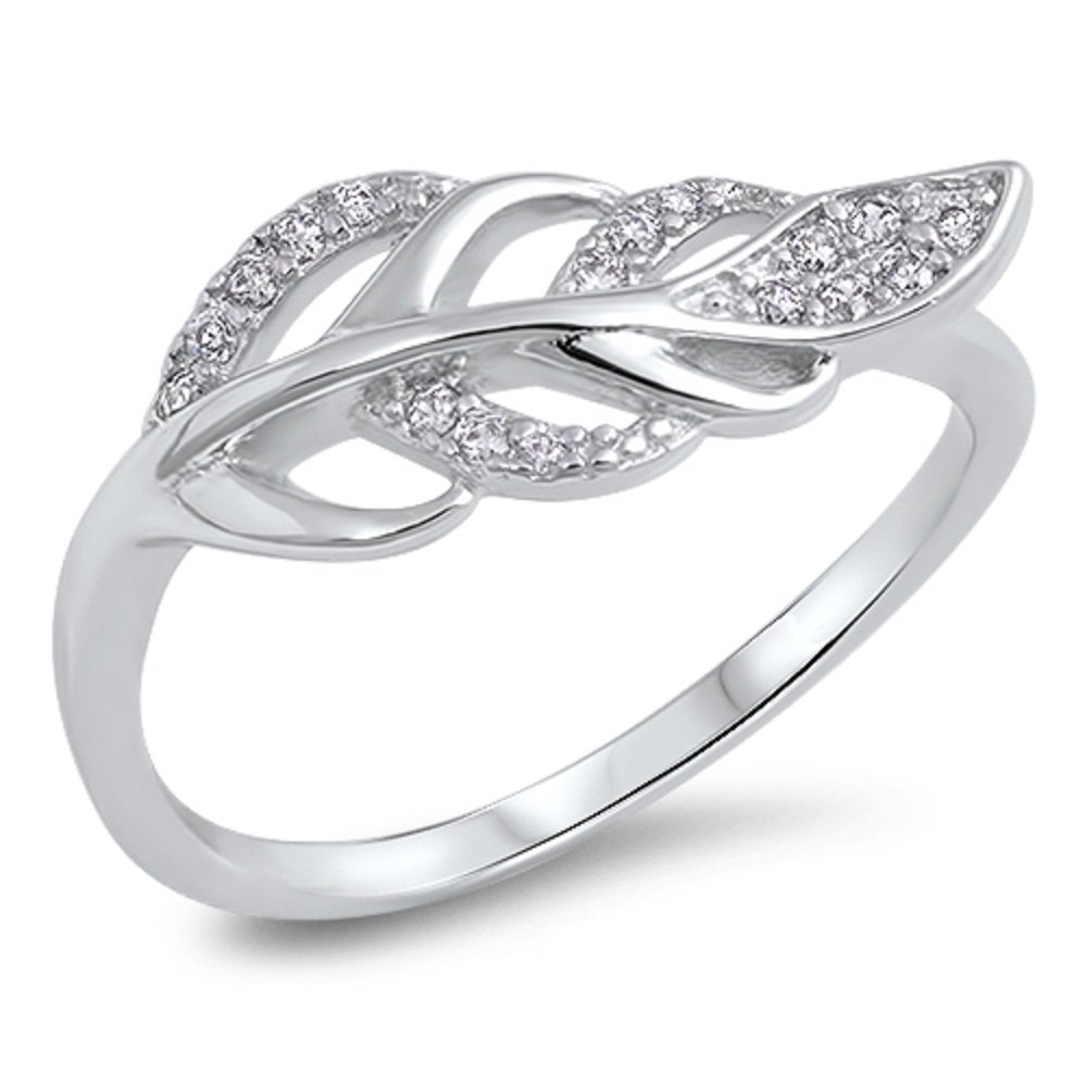 CloseoutWarehouse Round Cubic Zirvonia Leaf Design Ring Sterling Silver