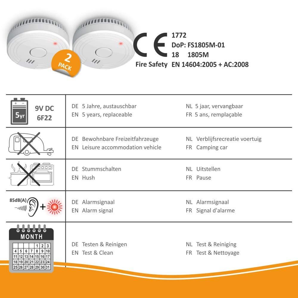 ELRO FS1805 FS1805-2-Pack Detector de Humo con Magnético Adhesivas Kit-5 años y garantía de batería-DIN EN14604-2 Unidades-Color, Blanco, Set de 2 ...