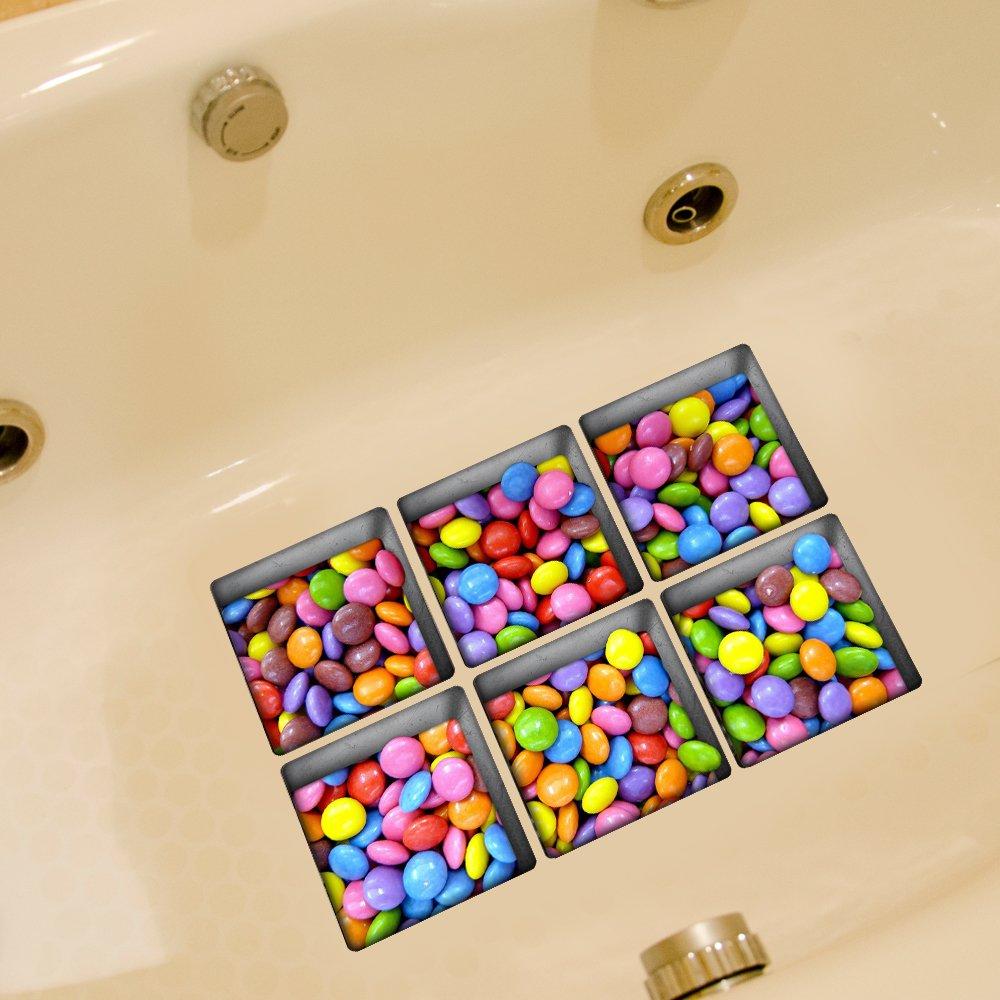 je St/ück 14.5/×14.5cm Weare Home Bonbons verschiedene Farbe Muster Serie von 6 St/ück Deko Design Kreativ Anti Rutsch Sticker f/ür Sicherheit Kinder f/ür Badewanne