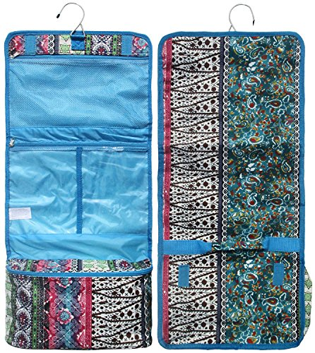 Best Turquoise Quilted Look Boho Hanging Toiletry Cosmetic Makeup Jewelry Travel Accessories Bag Pouch Case Top Unique Special Fun Easter Basket Gift Idea Under 20 Dollar for Wife Women Her Teen Girl