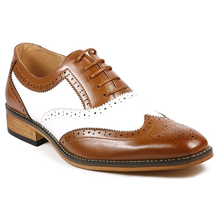 1930s Men's Costumes: Gangster, Clyde Barrow, Mummy, Dracula, Frankenstein  Mens Two Tone Perforated Wing Tip Lace Up Oxford Dress Shoes $39.99 AT vintagedancer.com