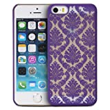 iPhone SE Case, GreatShield TACT Series Design Pattern Rubber Coating Slim Fit Hard Case Cover for Apple iPhone SE / 5S / 5 (Flora - Purple)