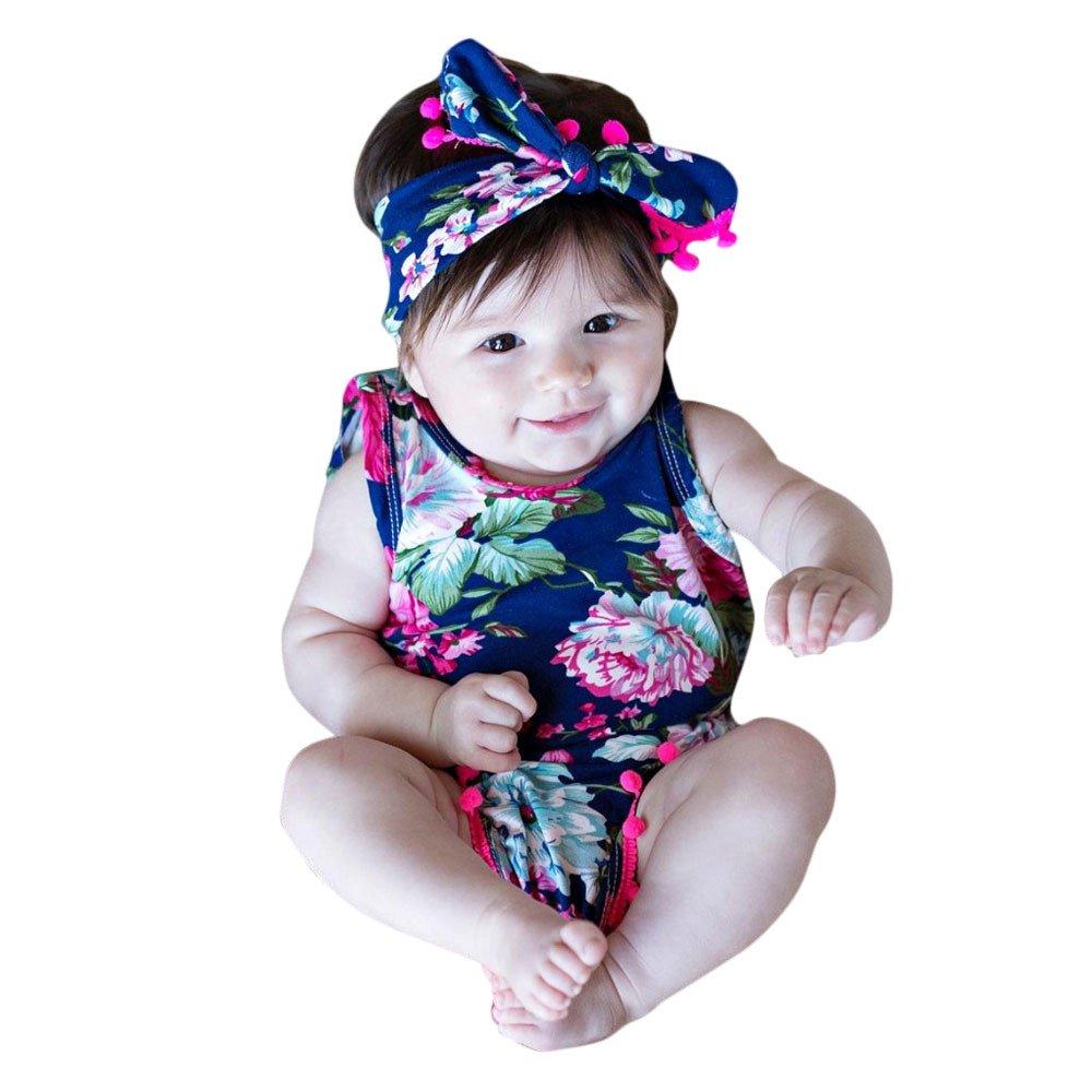 Covermason Bebé Niñas Floral Impresión Mono Bodies y Headwear(2 PC) (24M, Azul oscuro) Covermason-32