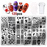 Konsait 7pcs Halloween Nail Art Stamp Template Nail Stamping Plates with Seal Stamp Scraper Pumpkin Ghost Skull Bat Templates Image Plates for Manicuring DIY Print for Women Girls Kids Halloween Decor