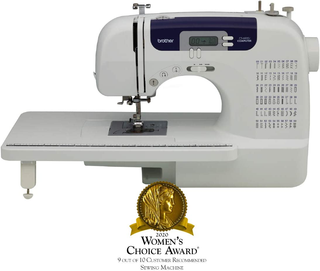 B000JQM1DE Brother Computerized Sewing and Quilting Machine, CS6000i, 60 Built-in Stitches, 7 Styles of 1-Step Size Buttonholes, Wide Table, Hard Cover, LCD Display and Auto Needle Threader, Beige/Blue 61iyxh0yHJL