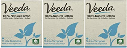3 Packs of 16 Count Each Regular Veeda 100/% Natural Cotton Compact BPA-Free Applicator Tampons Chlorine Toxin and Pesticide Free