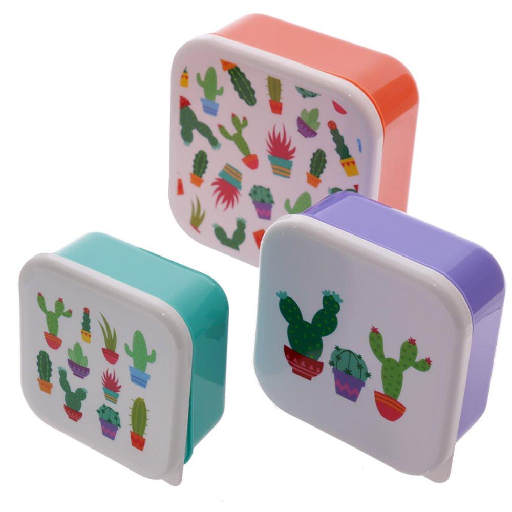 Puckator Cactus Set di 3 Contenitori per Alimenti, Arancio/Verde/Viola LBOX12