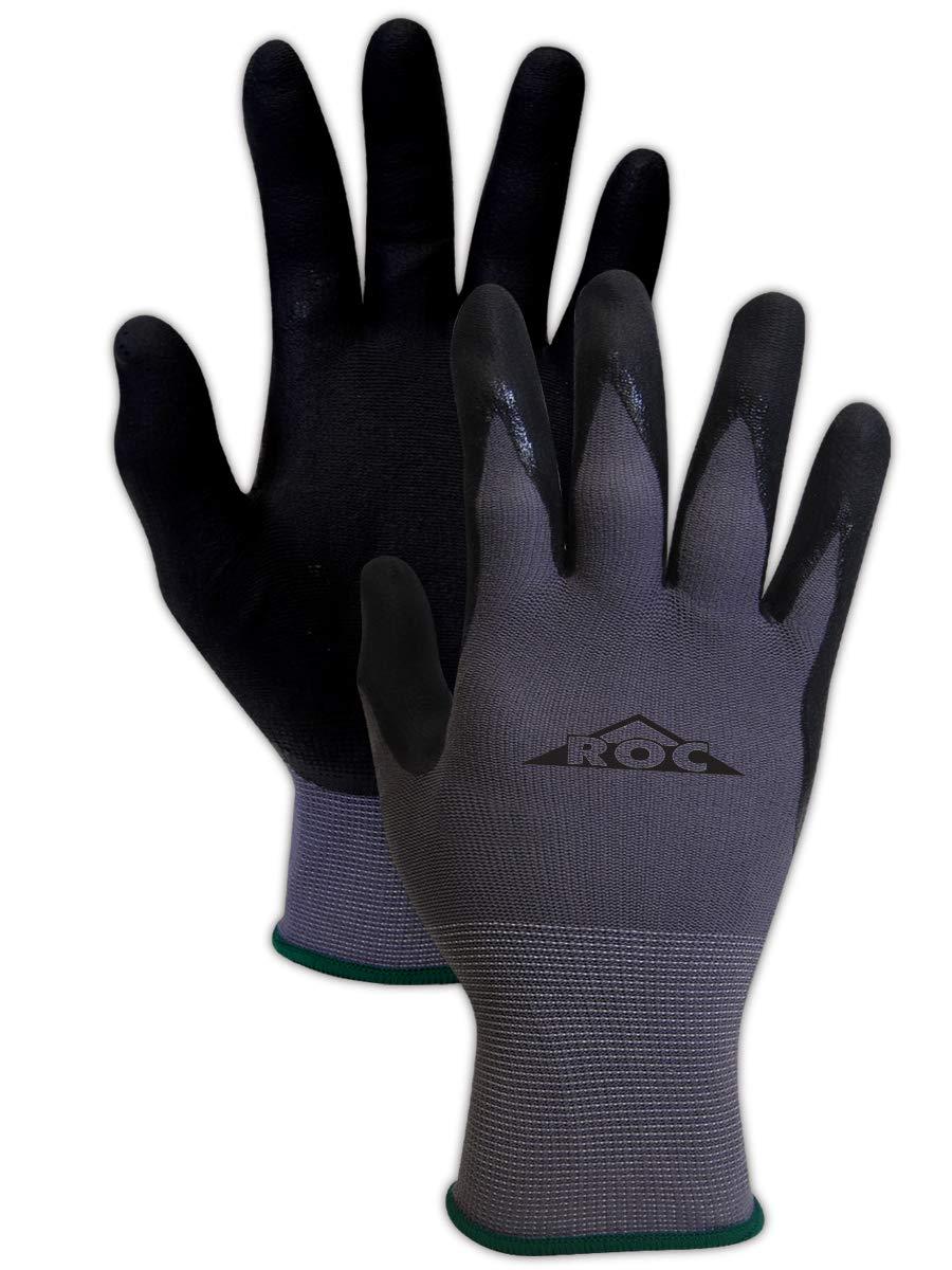 Magid Safety ROC GP100 Micro-Foam Nitrile Coated Gloves | 15 -Gauge Nylon/Spandex Blended Nitrile Coated Gloves - Cut Level 1, Abrasion Level 4, Grey/Black, Size 7 (12 Pairs)