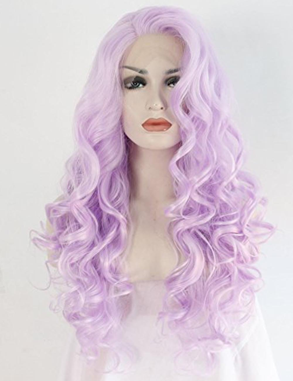 Women's Curly Wigs For Women Purple Lace Front Wig Heat Resistant Fiber Hair Synthetic Wigs Half Hand Tied 24 inches Aibei'er