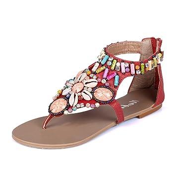 ALUK beach shoes sandals Frauen Sommer Strand Sandalen Perlen Hausschuhe  Flach Strass Hausschuhe (Farbe d2470cd279