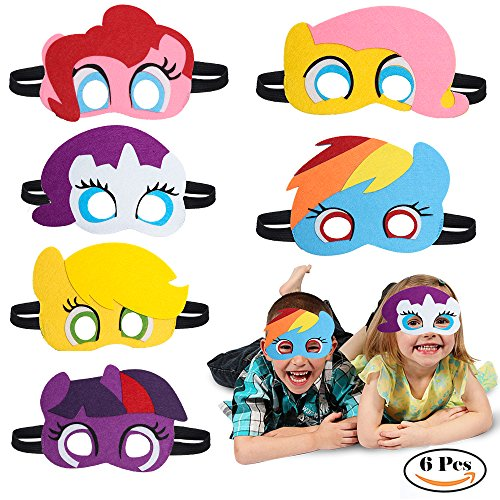 Pinkie Pie Cosplay Costume (Beelittle Birthday Party Favors Masks Novelty Toys Birthday Gifts for Little Pony Party Supplies 6 PCs)