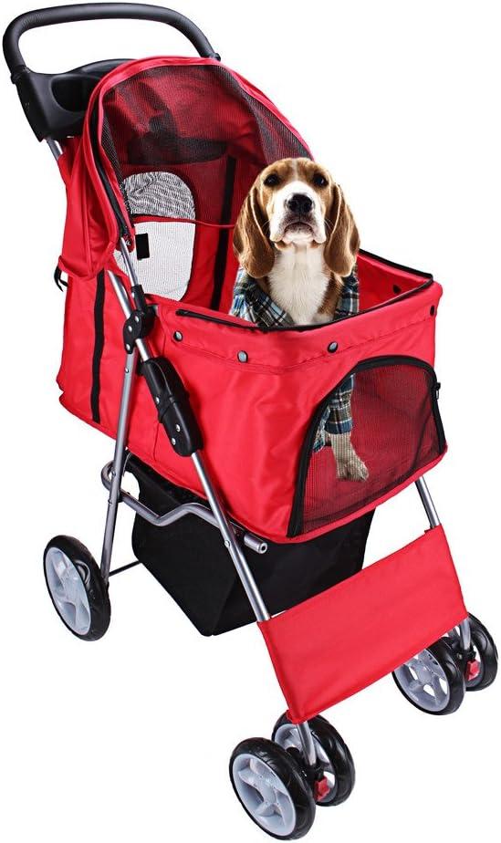 DISPLAY4TOP Carrito de 4 Ruedas para Mascotas Perros Gatos Animales Plegable Impermeable para Viaje Paseo (rosso)