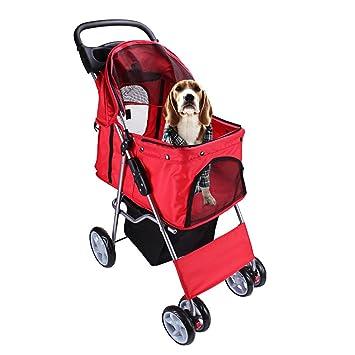DISPLAY4TOP Carrito de 4 Ruedas para Mascotas Perros Gatos Animales Plegable Impermeable para Viaje Paseo (rosso): Amazon.es: Productos para mascotas