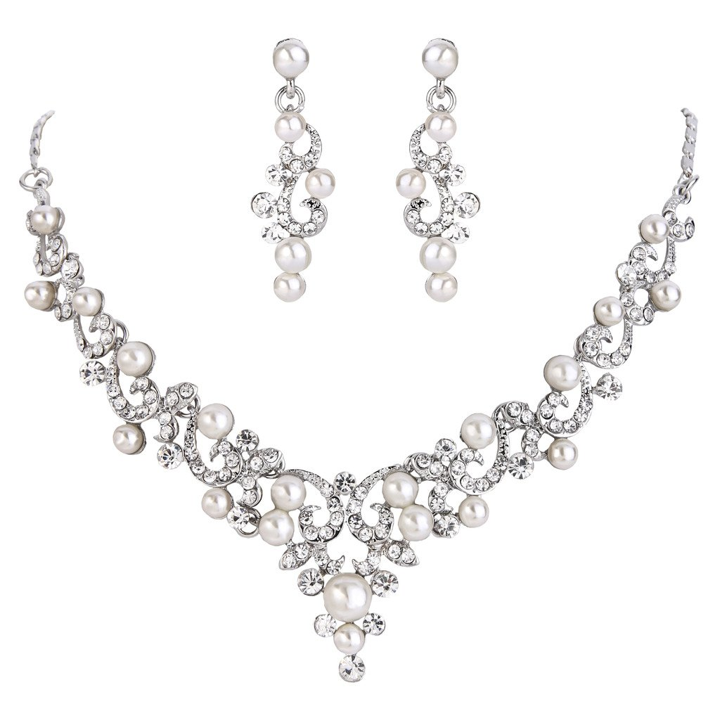BriLove Women's Wedding Bridal Crystal Cream Simulated Pearl Filigree Vine Y-Necklace Dangle Earrings Set Clear Silver-Tone