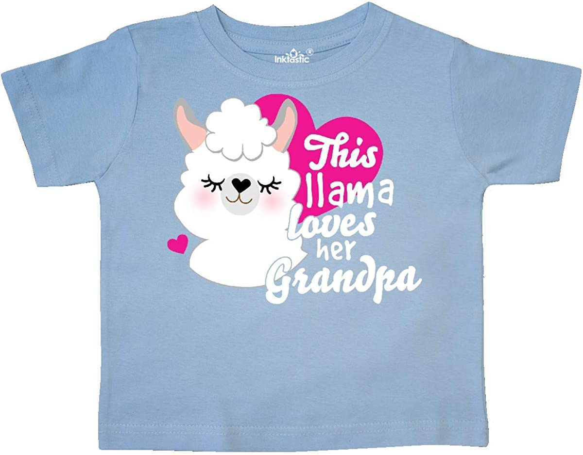 inktastic Valentines Day This Llama Loves Her Grandpa Toddler T-Shirt