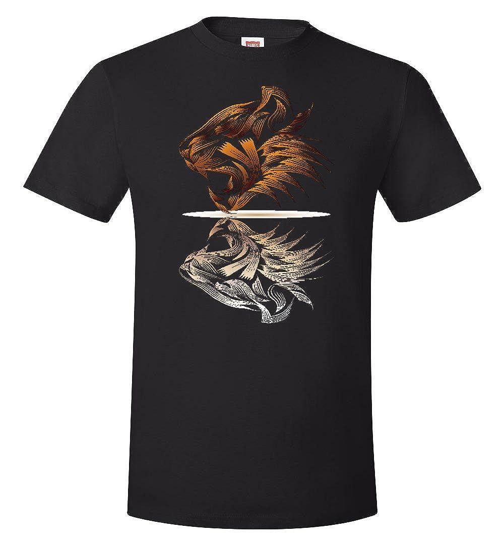 zoluka Mens Tshirt Lion face Mirror Image Graphic Art t-Shirt