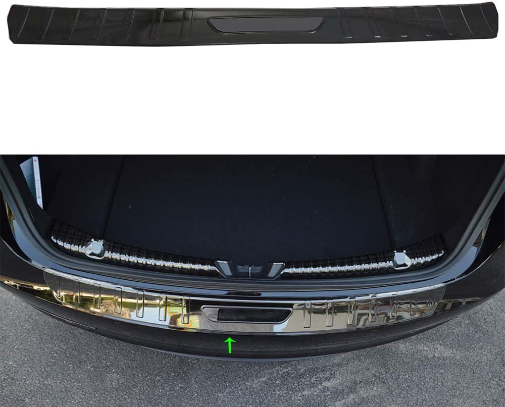 Black OBL Oubolun Inner Rear Trunk Bumper Guard Protector Sill Plate Step Panel Cover Car Accessory Stainless Steel for Tesla Model 3 2019