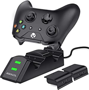 BEBONCOOL Station for Xbox One Controller Charger, Controller Charger Station Work with Xbox One/One S/One X/Xbox Elite, Charging Station with 2x1200 mAh Rechargeable Battery