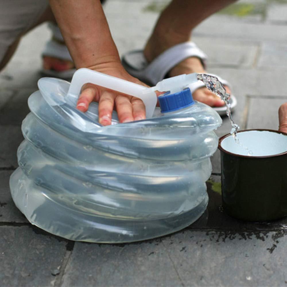JUNSHUO 10//15 litros Cubo Plegable de Camping para Grifo con Bolsa de Agua port/átil Sin BPA para Camping Senderismo Picnic Barbacoa