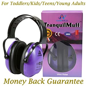 Hearing Protection Earmuff/Headphone for Toddlers, Kids, Teens, and Adults. Amplim Noise Cancelling Headphones, Earmuffs for Kids Ear Defenders - Airplane/Concert/Outdoor/Lawn Mower - Purple
