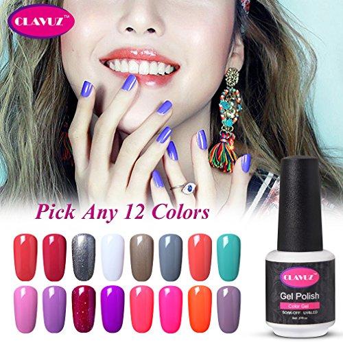 CLAVUZ Soak Off UV Gel Nail Polish Kit Pick Any 12 Colors Collections Nail Lacquer High Gloss Beauty Nail Art DIY Manicure at Home Top and Base Coat can Pick