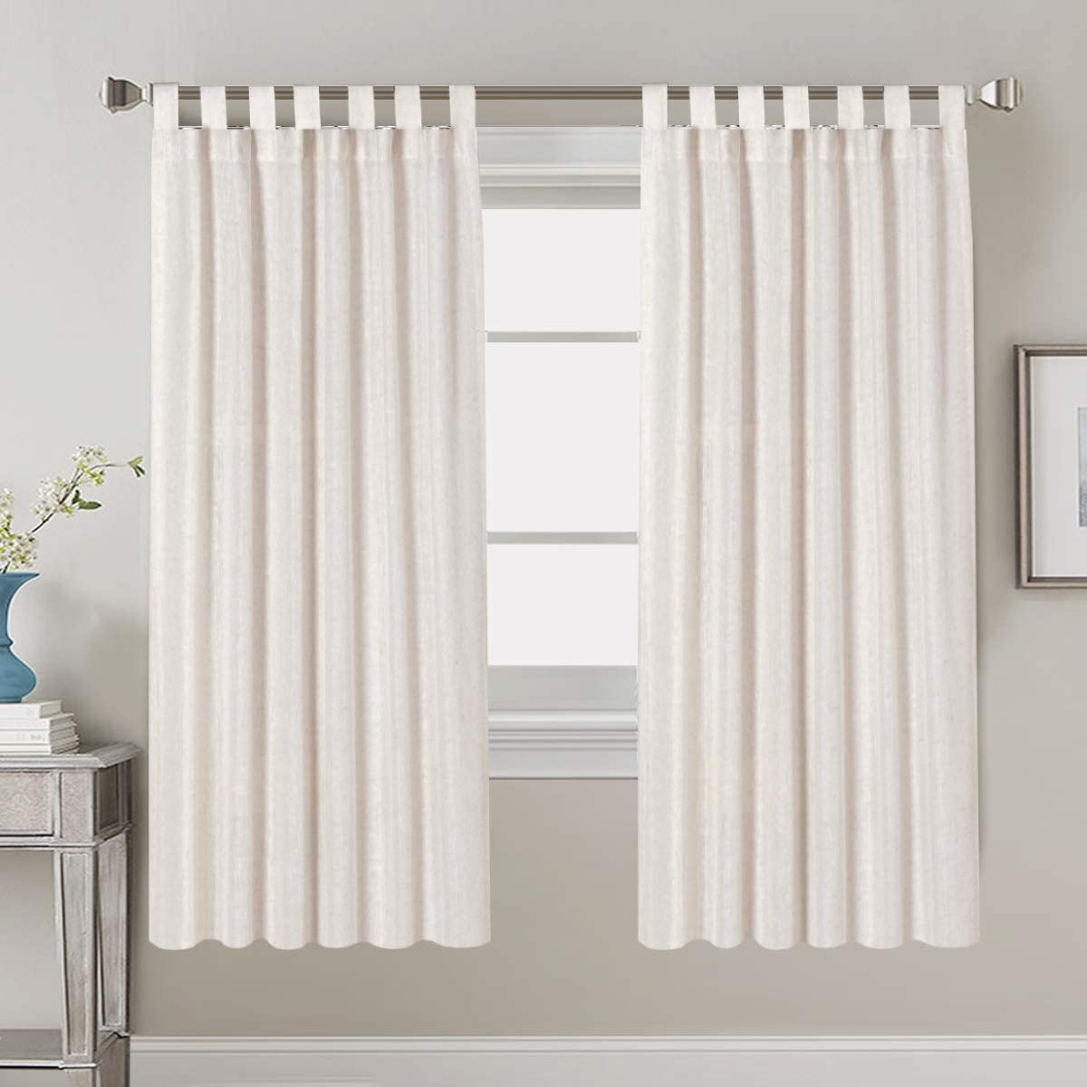Living Room Linen Curtains Home Decorative Tab Top Curtains Privacy Added Energy Saving Light Filtering Window Treatments Draperies for Bedroom, 2 Panels, 52 x 63 - Inch, Natural