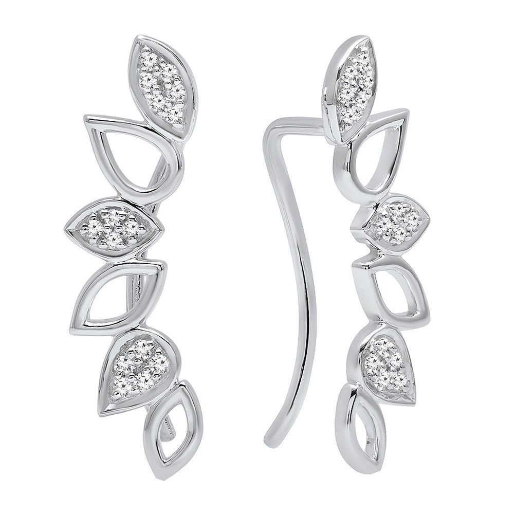 Dazzlingrock Collection 0.15 Carat (ctw) Round White Diamond Ladies Climber Earrings, Sterling Silver