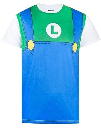 84a194509 Super Mario Luigi Costume Mens T-Shirt: Amazon.co.uk: Clothing