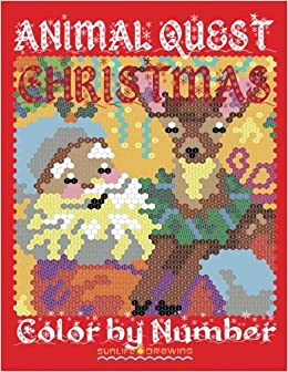 amazoncom christmas animal quest color by number activity puzzle coloring book for adults relaxation stress relief quest color by number books - Color By Number Books
