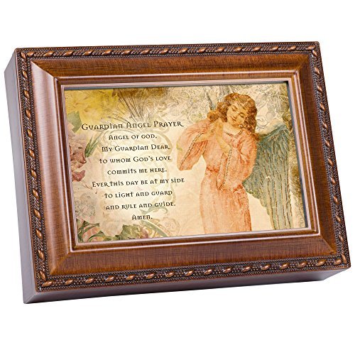 Cottage Garden Guardian Angel Prayer Woodgrain Music Box/Jewelry Box Plays Ave Maria