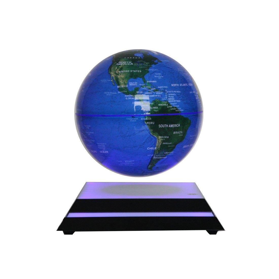 Mindbreaker 6'' LED Light Globes Luminous Globes Magnet Toys Levitation Floating Magnetic Rotating Globe Anti-gravity Floating Levitating Earth Luminous Sphere Wireless Power Supply(blue) by Mindbreaker
