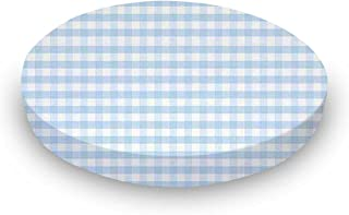 product image for SheetWorld Fitted Oval (Stokke Mini) - Blue Gingham Jersey Knit - Made In USA