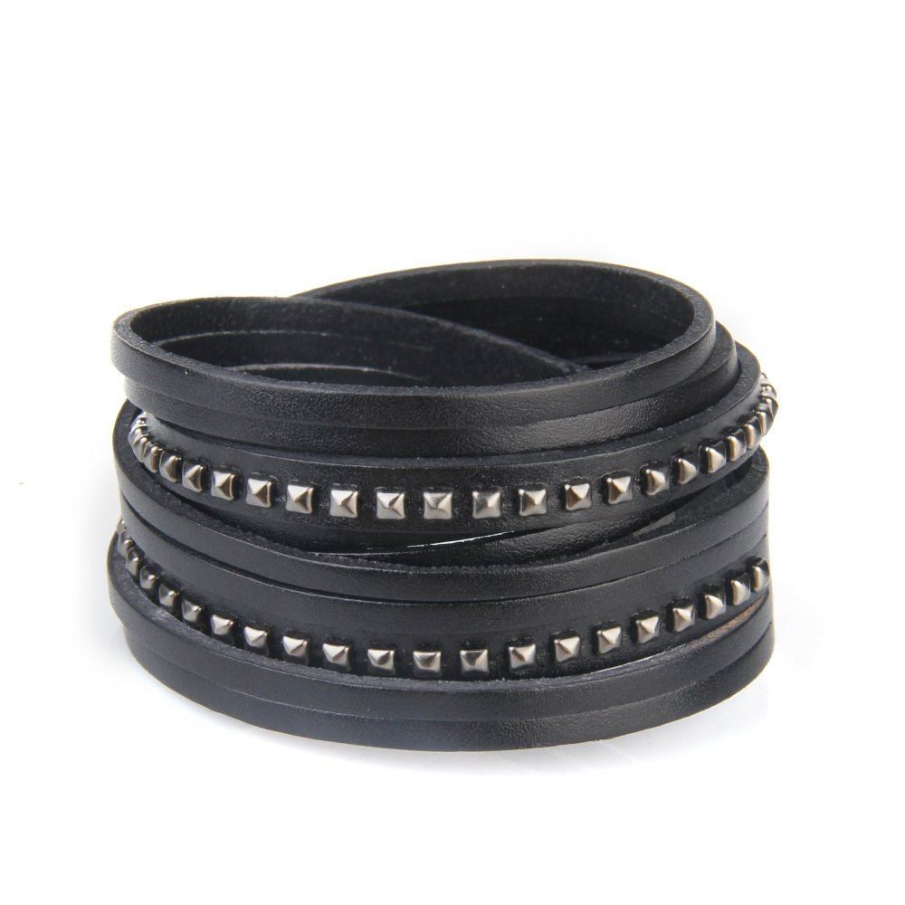 Unisex Multistrand PU Leather Cuff Bracelet with Pyramid Studs Wrap Leather Studded Bracelet