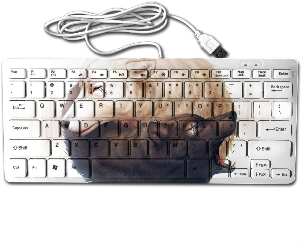 Black And White Wolf Mini Keyboard USB Cable Ultra-thin Portable Universal