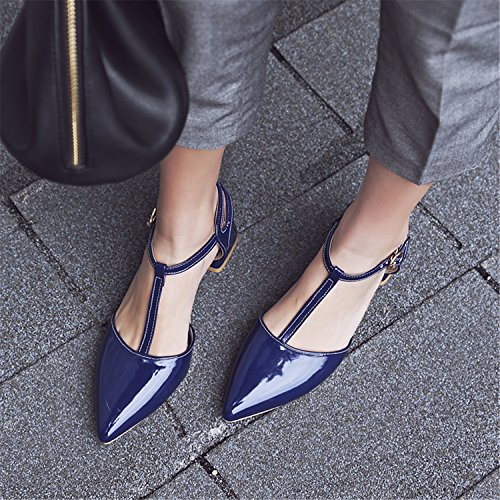 Pumps Shoes Leather Odetina Slingback Women's Chunky Dress Blue Strap Pointy Heels T Patent Casual Toe Comfy 66SqBwfO